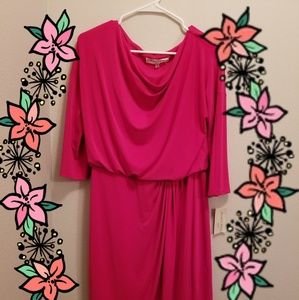 NWT Evan Picone hot pink dress